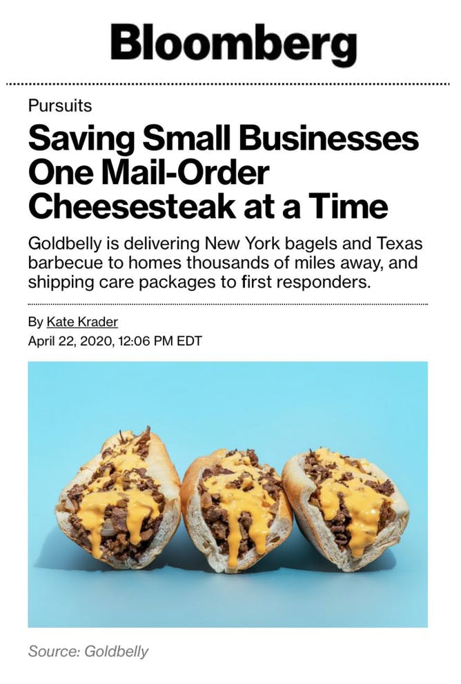 "Goldbelly is ""Saving Small Businesses""  article thumbnail"