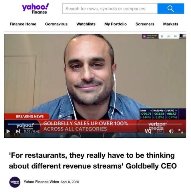 Goldbelly CEO Joe Ariel on Yahoo! Finance Live  article thumbnail
