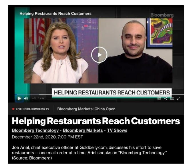 "Goldbelly CEO Joe Ariel on ""Saving Restaurants"" on Bloomberg Tech article thumbnail"