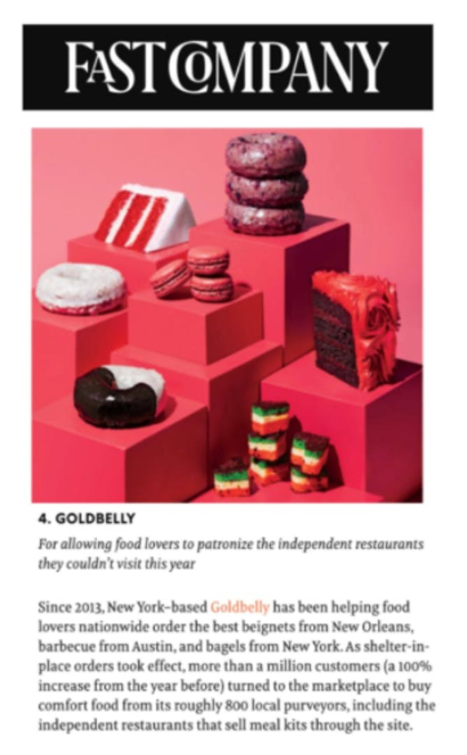 Goldbelly Named to Fast Company's Most Innovative Companies article thumbnail