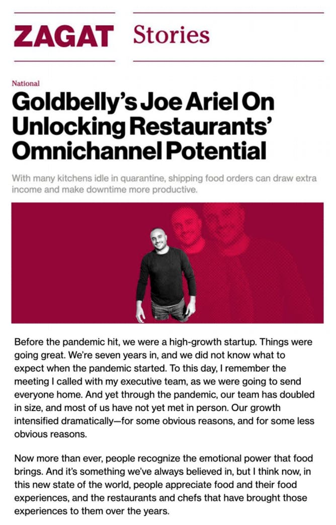 Goldbelly CEO Joe Ariel On Unlocking Restaurants' Omnichannel Potential article thumbnail