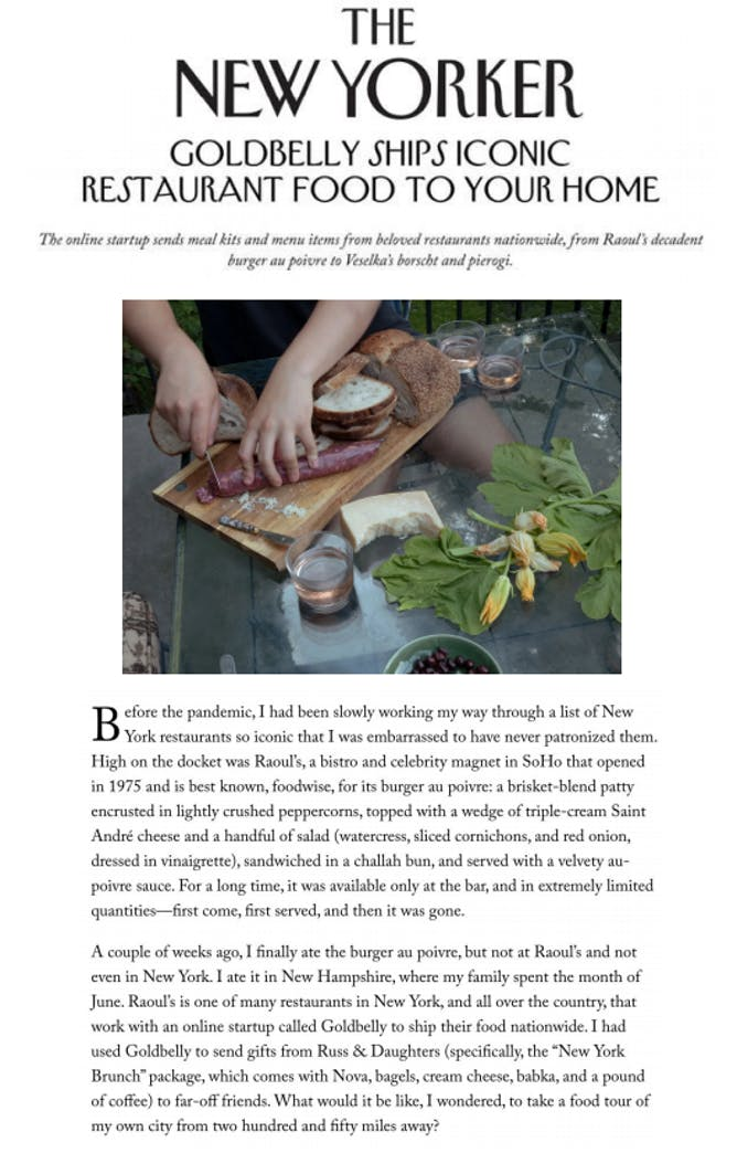 Goldbelly Featured in The New Yorker With a Virtual Culinary Tour of NYC article thumbnail