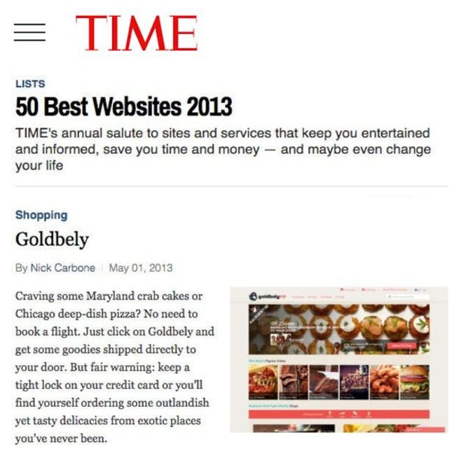 Goldbelly Named One of TIME's 50 Best Websites article thumbnail