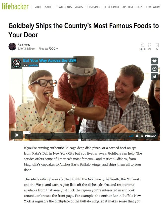 Goldbely Ships the Country's Most Famous Foods to Your Door article thumbnail