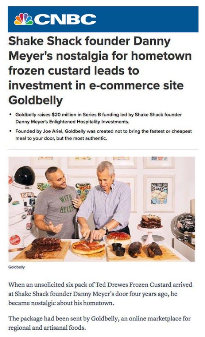 Goldbelly CEO Joe Ariel & Danny Meyer in CNBC article thumbnail