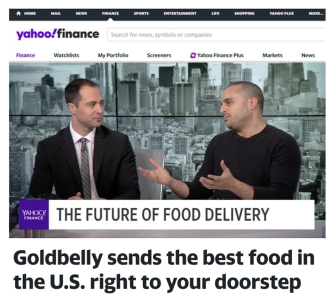 Goldbelly CEO Joe Ariel on Yahoo! Finance article thumbnail