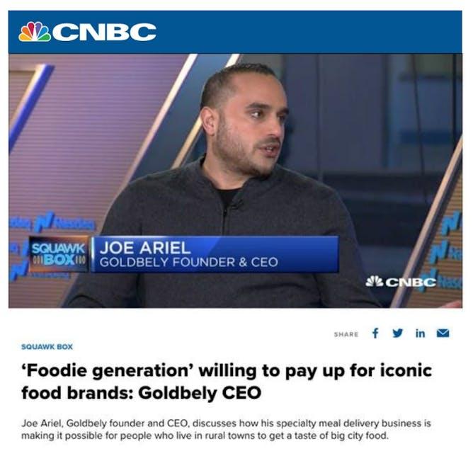 Goldbelly CEO Joe Ariel On CNBC Squawk Box  article thumbnail