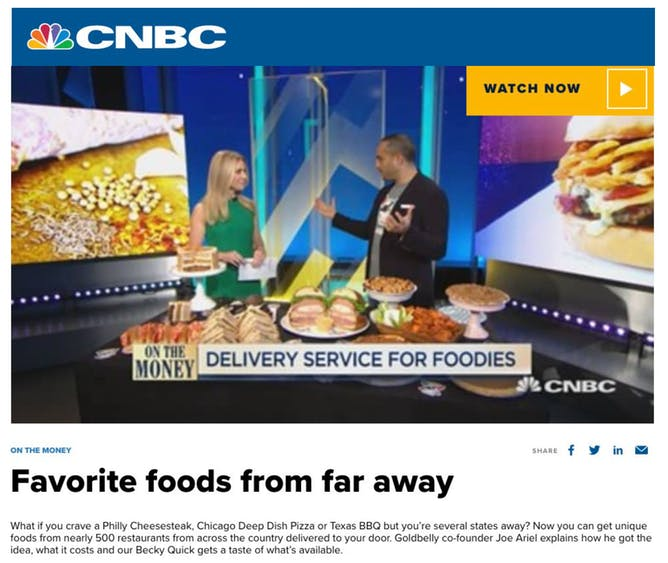 Goldbelly CEO Joe Ariel On CNBC's On The Money With Becky Quick article thumbnail
