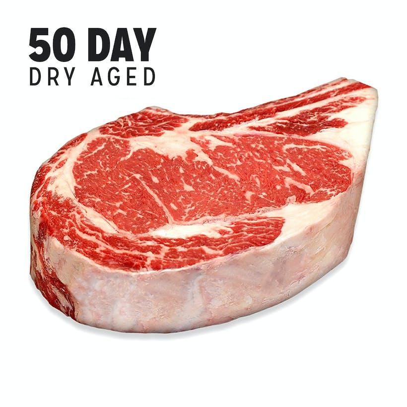 Dry-Aged USDA Prime Black Angus Bone-In NY Strip Steak, Center Cut (Aged 50 Days)