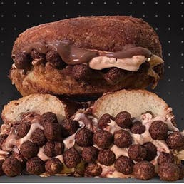Overloaded Cocoa Puffs Bagels + Cream Cheese
