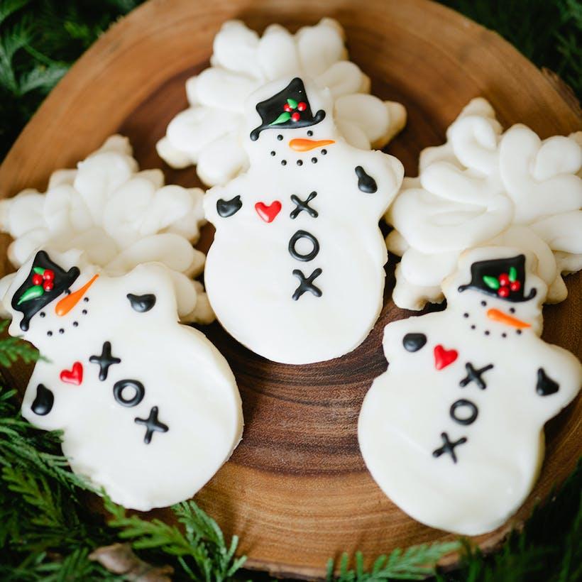 Snowman & Snowflake Christmas Sugar Cookies