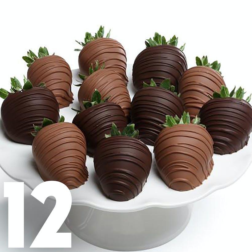 Milk & Dark Chocolate Covered Strawberries - 12 Pack