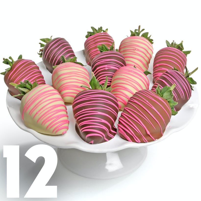 Pink Drizzle Chocolate Covered Strawberries - 12 Pack