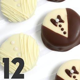 Bride & Groom Belgian Chocolate-Dipped OREO® Cookies Gift - 12 Pack