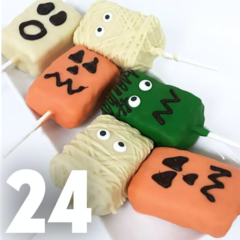 Halloween Chocolate Covered Crispy Pops - 24 Pack