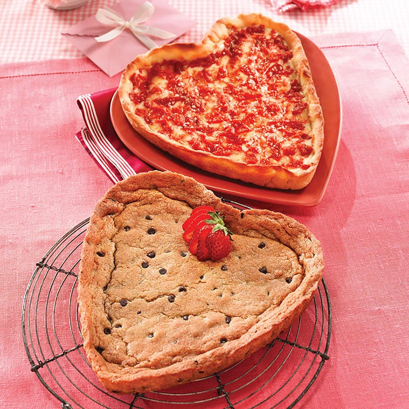 Lou's Heart Shaped Chocolate Chip Cookie & Heart Shaped Pizza