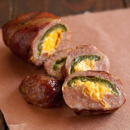 Bacon Wrapped Cheddar Jalapeño Sausage Slammers