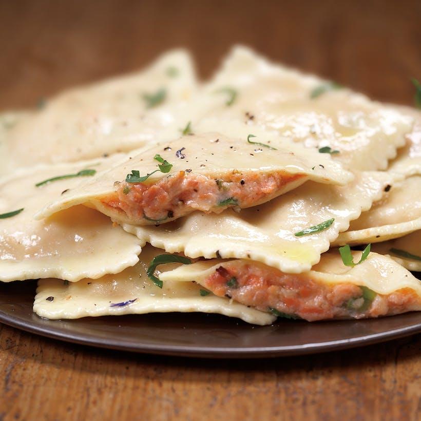 Smoked Salmon Ravioli -  Serves 4