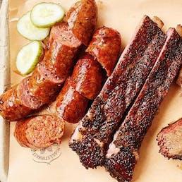 Post Oak-Smoked Ribs and Sausage Pack