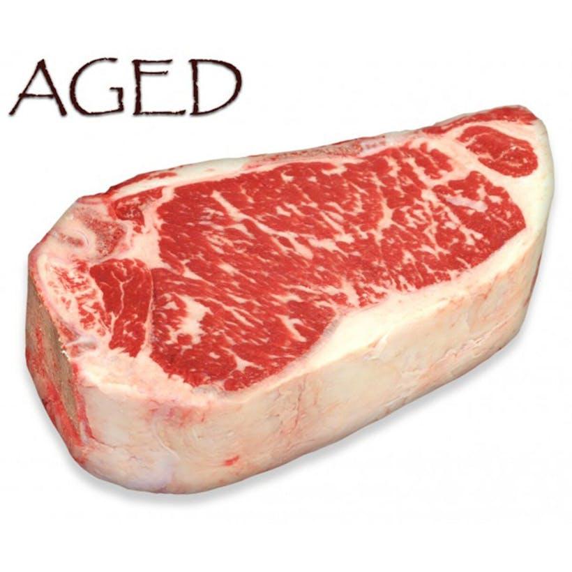 Dry-Aged USDA Prime Black Angus Bone-In NY Strip Steak, Center Cut
