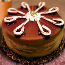 Chocolate Ganache Peppermint Candy Cane Ice Cream Cake